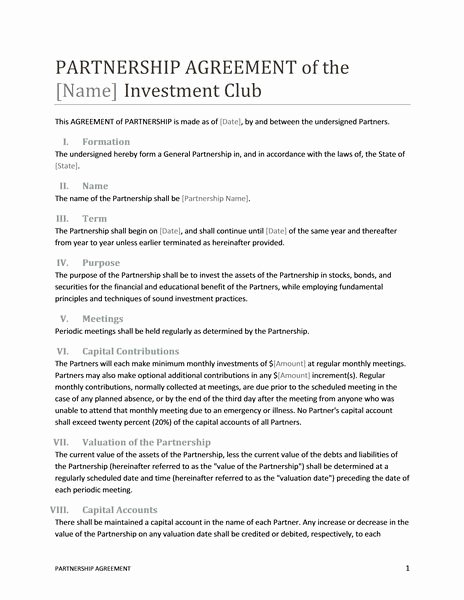 Sample Business Contracts Elegant Printable Sample Partnership Agreement Template form