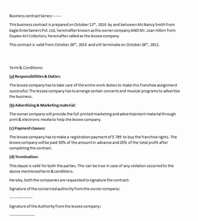 Sample Business Contracts Lovely Business Contract Template