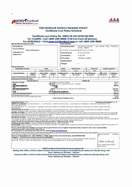 Sample Car Insurance Card Lovely File Vehicle Insurance Certificate In India Pdf