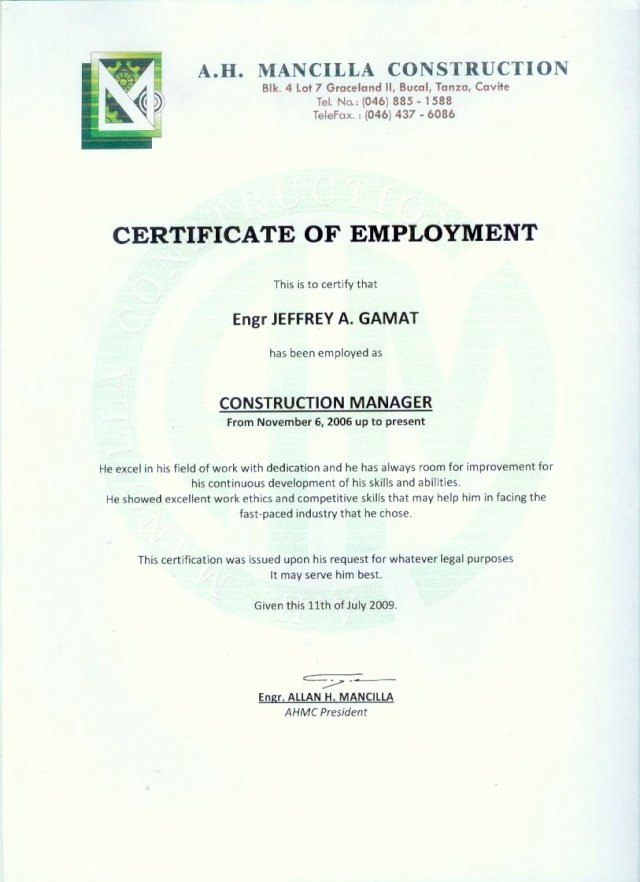 Sample Certificate Of Employment Awesome Employment Certificate