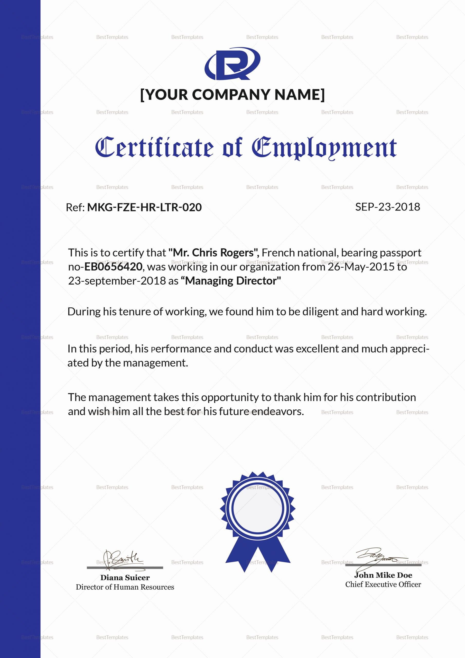 Sample Certificate Of Employment Elegant Excellent Employment Certificate Design Template In Psd Word