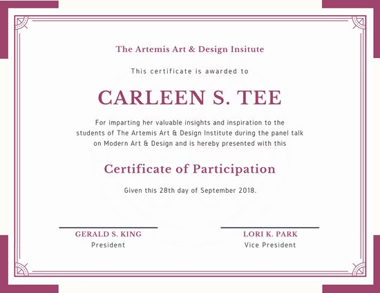 Sample Certificate Of Participation Template Awesome Customize 119 Participation Certificate Templates Online