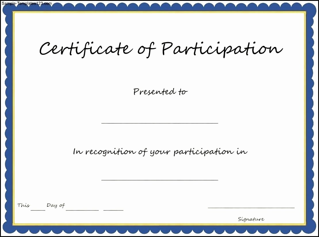 Sample Certificate Of Participation Template Best Of Certificate Participation Template Key Ponents to