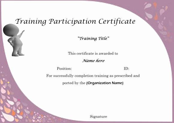 Sample Certificate Of Participation Template Fresh Sample Certificate Of Partcipation In Training