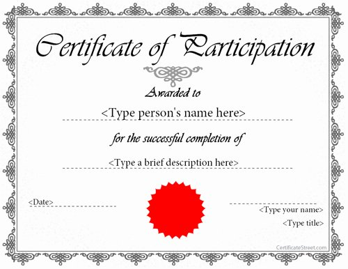 Sample Certificate Of Participation Template Inspirational Printable Participation Templates