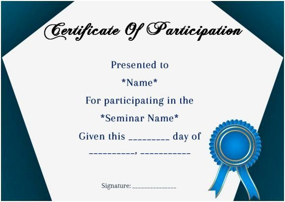 Sample Certificate Of Participation Template New Certificate Of Participation In Seminar Template