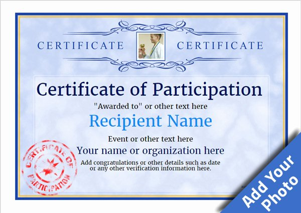 Sample Certificate Of Participation Template New Participation Certificate Templates Free Printable Add