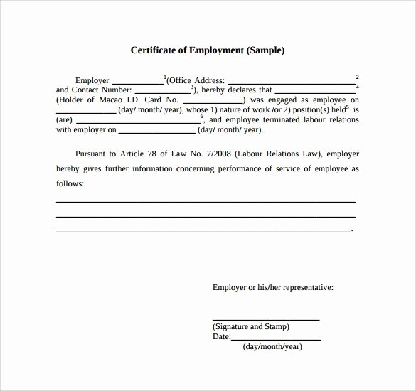 Sample Certificate Of Service Beautiful Certificate Employment Samples Word Excel Samples