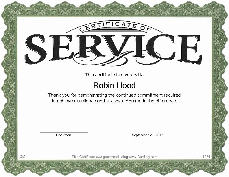 Sample Certificate Of Service Beautiful Certlog