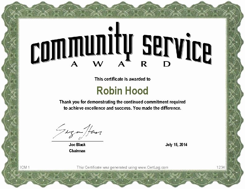 Sample Certificate Of Service Best Of Sample Certificate Recognition for Munity Service