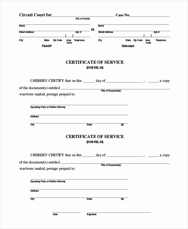 Sample Certificate Of Service Lovely Free 15 Sample Certificate Of Service forms