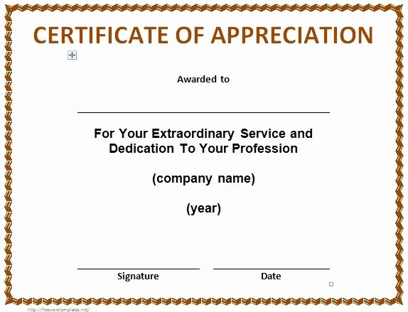 Sample Certificate Of Service New 30 Free Certificate Of Appreciation Templates and Letters