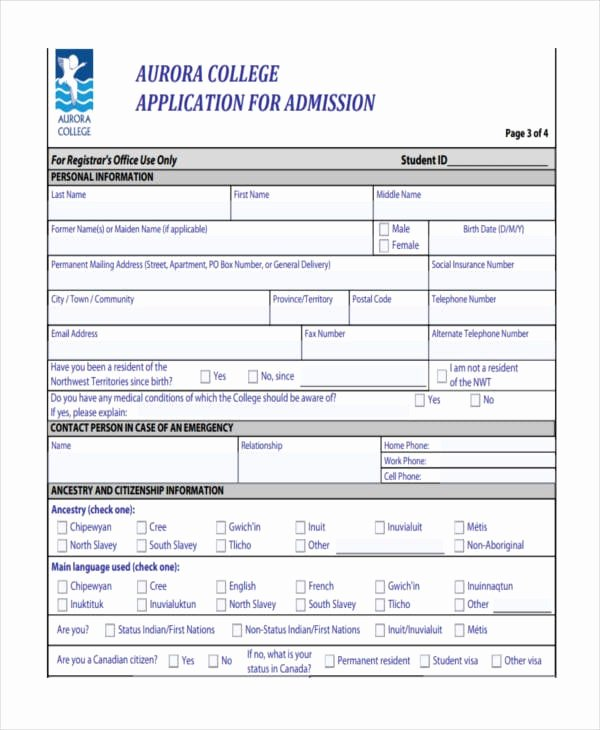 Sample College Applications Luxury Free 7 College Application Examples & Samples In Pdf