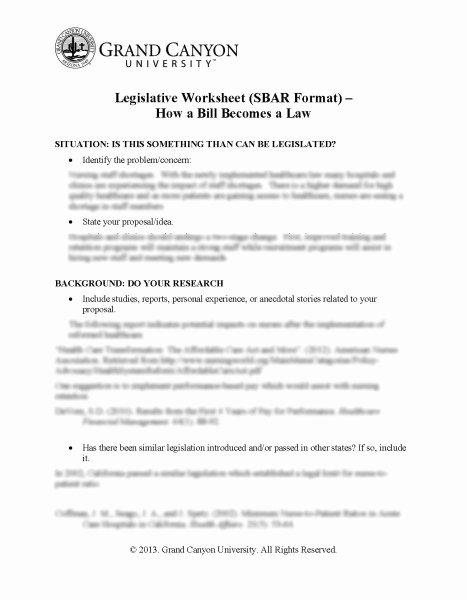 Sample Congressional Bill Inspirational Legislative Worksheet Sbar format How A Bill Be Es Law