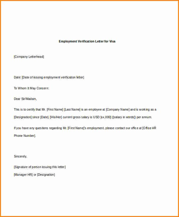 Sample Employment Verification Letter for Visa Best Of 5 Salary Reference Letter From Employer