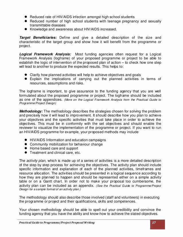 Sample Grant Proposal for after School Program New Practical Guide to Programme Project Proposal Writing