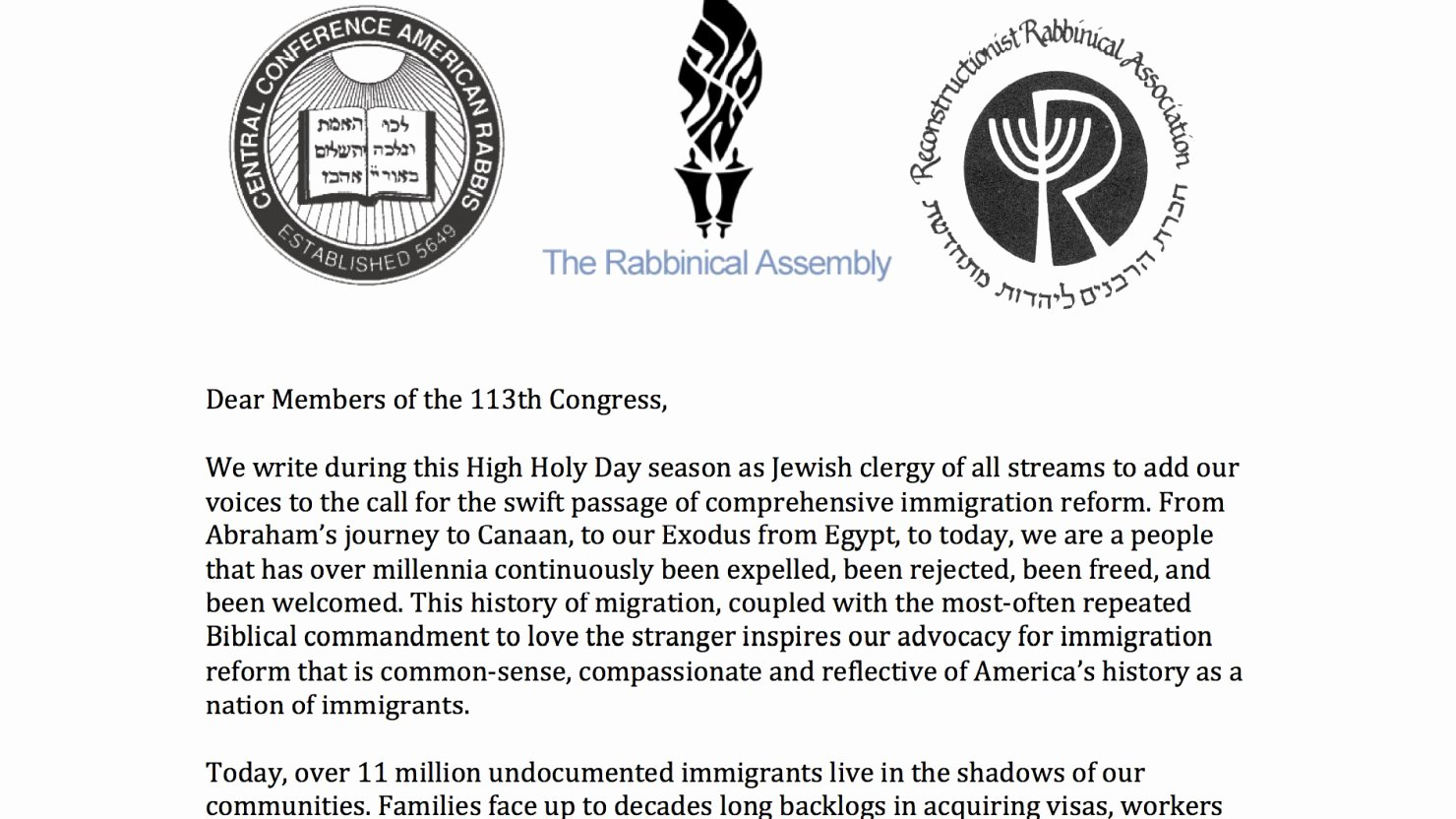 Sample Humanitarian Letter for Immigration Awesome Jewish Clergy Submit Letter to Congress Urging Action On