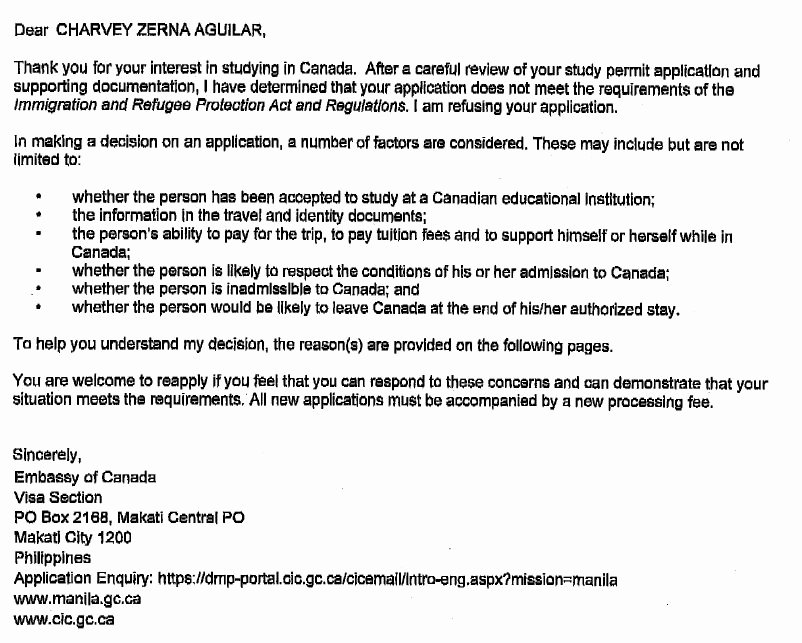 Sample Humanitarian Letter for Immigration Fresh Ircc Application Refusal – Example Of Internal Reasons for
