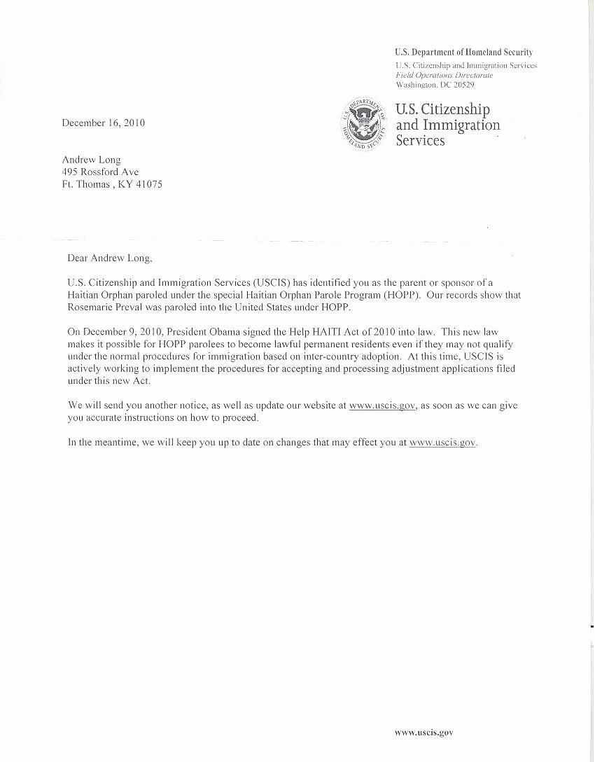 Sample Humanitarian Letter for Immigration Lovely Uscis Letter Re Mendation Sample Cover Letter