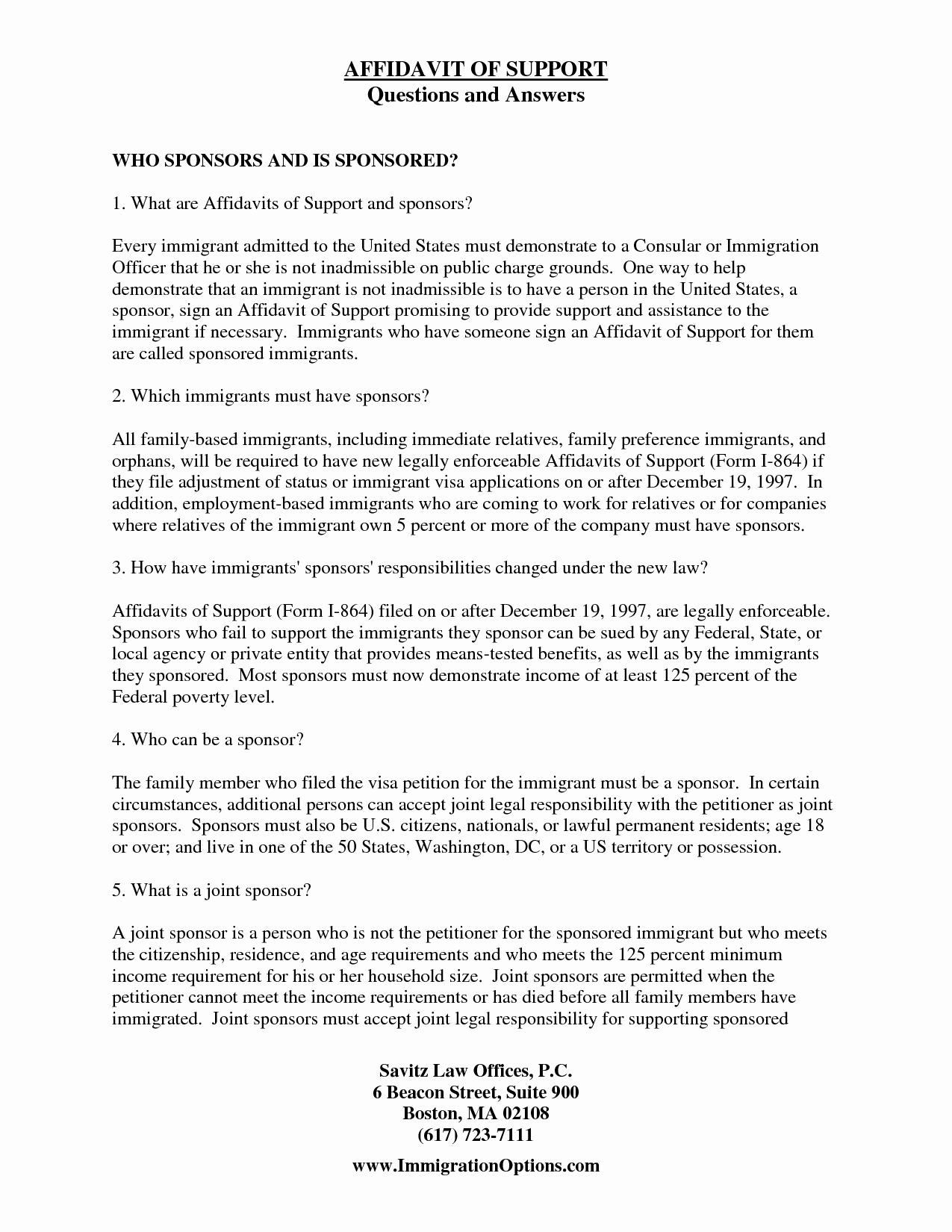 Sample Immigration Letter Of Support Best Of Immigration Affidavit Letter Sample