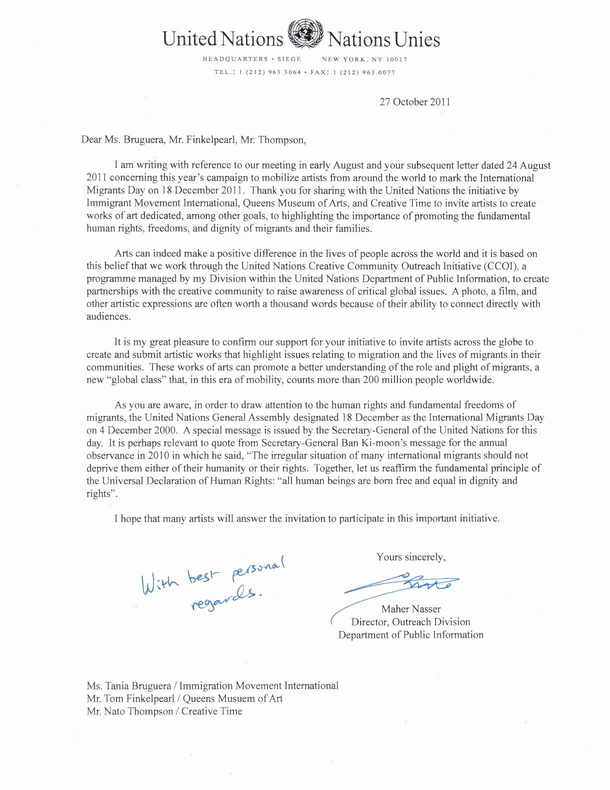 Sample Immigration Letter Of Support Elegant United Nations Ficial Letter Support for Dec