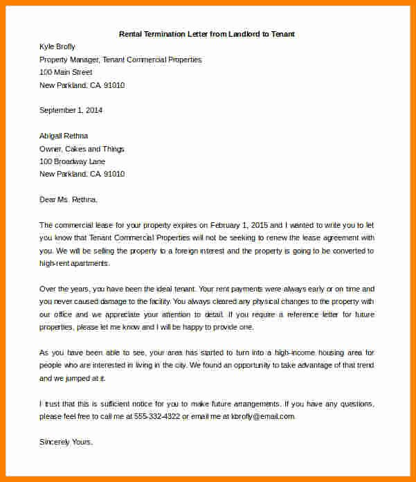 Sample Landlord Letters to Tenants Awesome 5 End Of Lease Letter to Tenant From Landlord