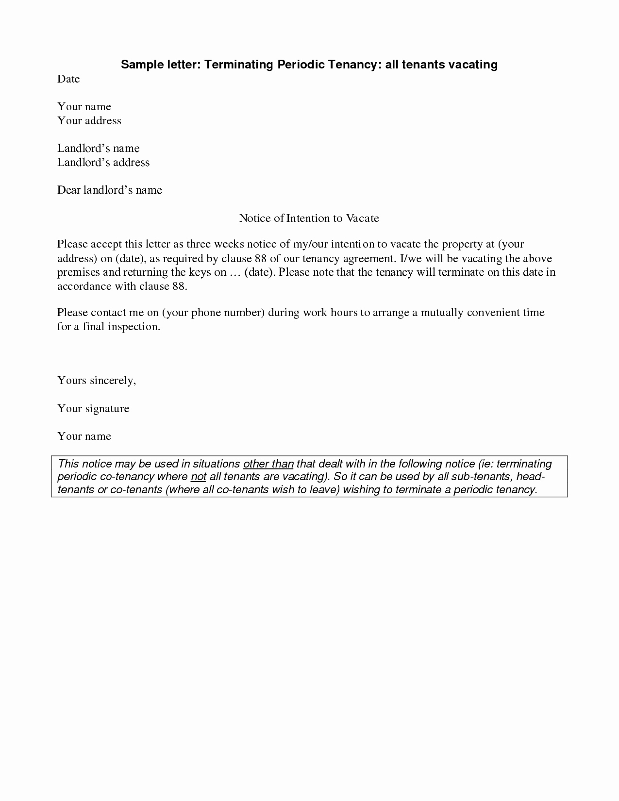 Sample Landlord Letters to Tenants Awesome Best S Of Renters Notice Letter Tenant Notice