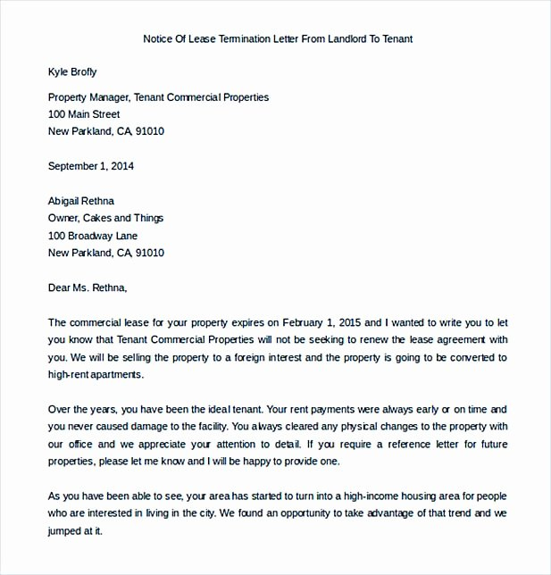 Sample Landlord Letters to Tenants Best Of 9 Lease Termination Letter Template