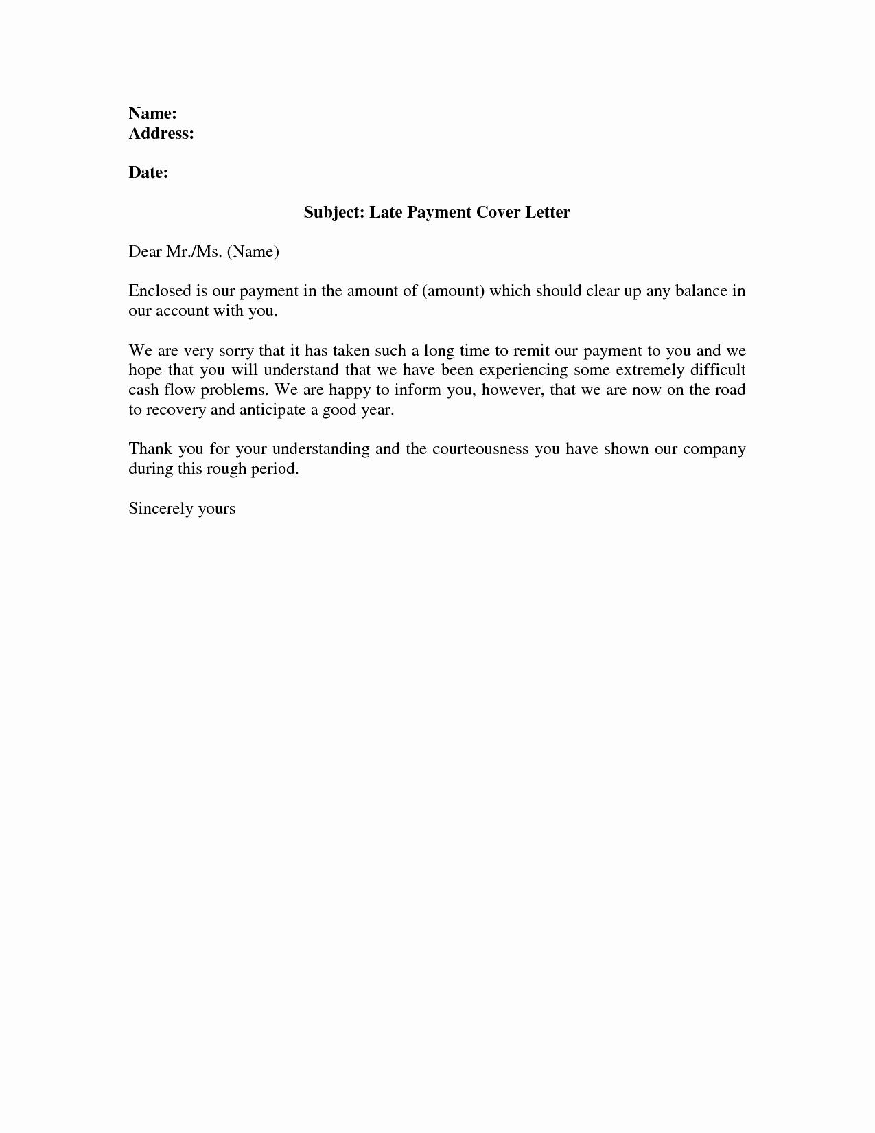 Sample Letter Explaining Late Payments Unique Late Payment Cover Letter Tenant Later Payment Letter