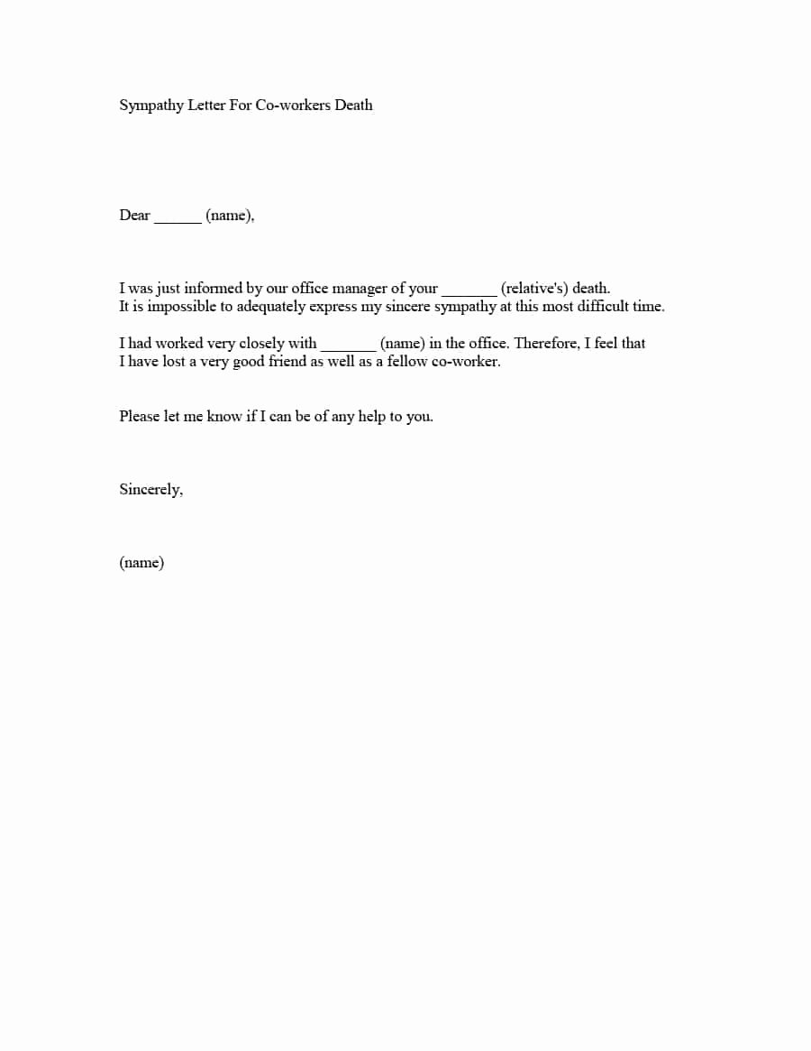 Sample Letter Of Death Notification to Friends Fresh 41 Condolence & Sympathy Letter Samples Template Lab
