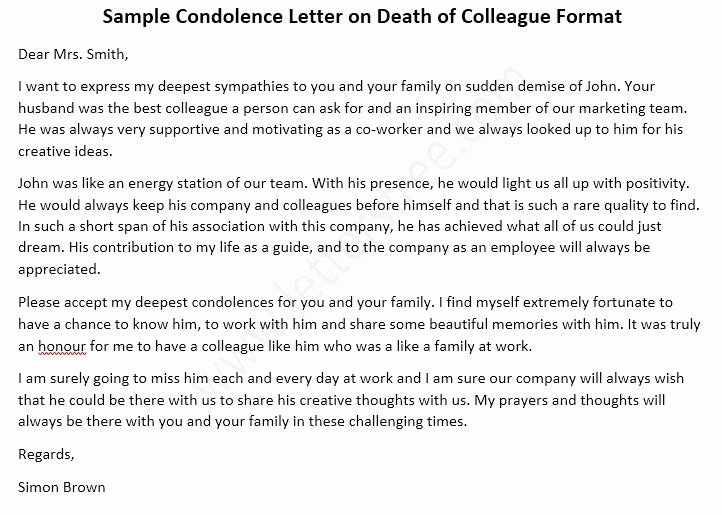 Sample Letter Of Death Notification to Friends New Condolence Letter On Death Of Colleague Co Worker Sample