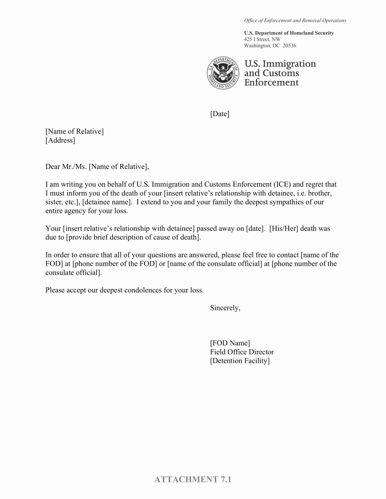 Sample Letter Of Death Notification to Friends Unique Ice's Detainee Death Notification Letter – Altgov 2
