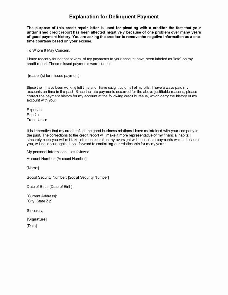 Sample Letter Of Explanation for Late Payments On Credit Report Awesome Sample Letter Explanation for Delinquent Payment
