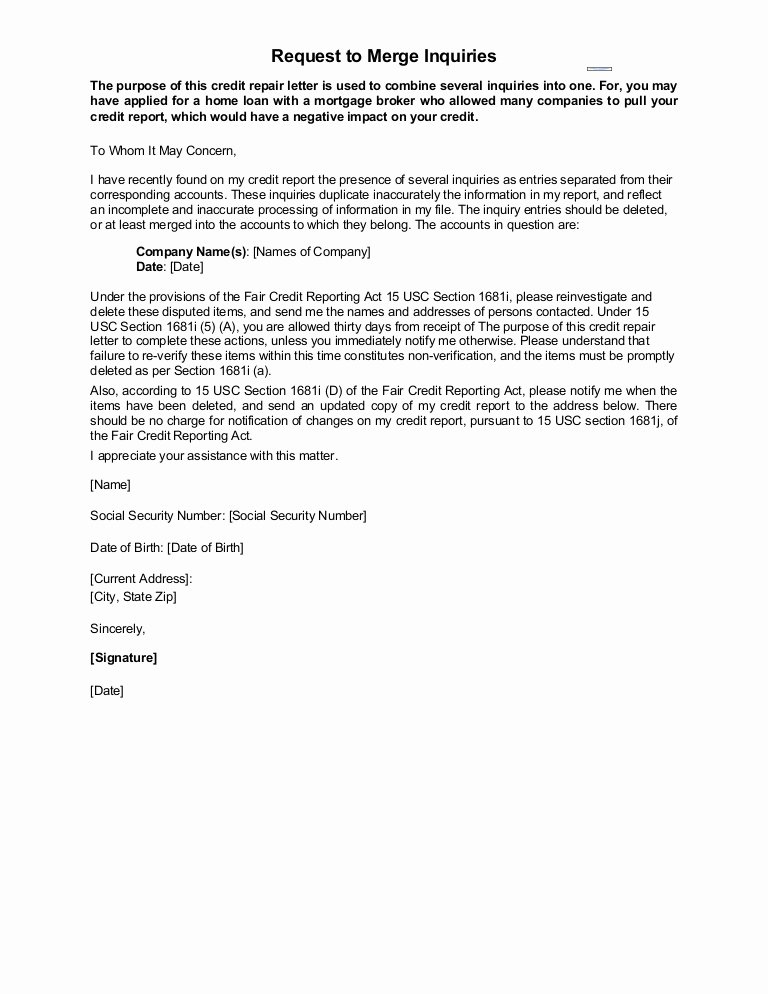 Sample Letter Of Explanation for Late Payments On Credit Report Beautiful Sample Letter Request to Merge Inquiries