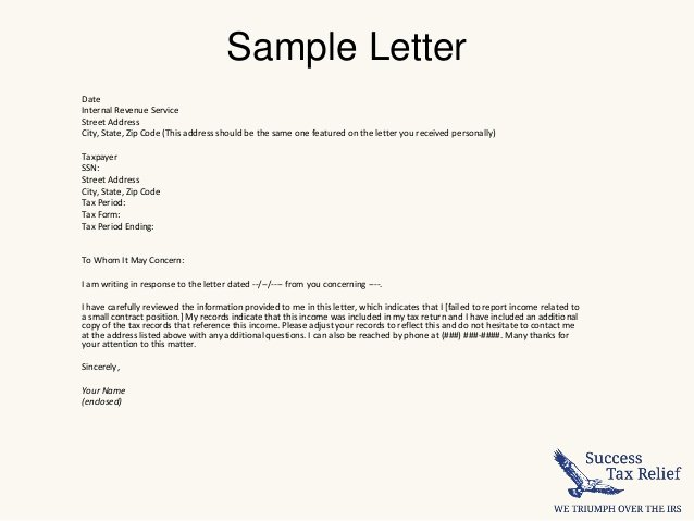 how to write a letter of explanation to the irs
