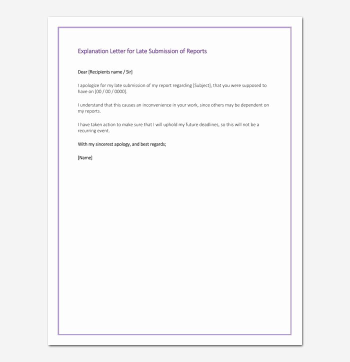 Sample Letter Of Explanation for Late Payments On Credit Report New Apology Letter for Being Late In Submission Sample Letter