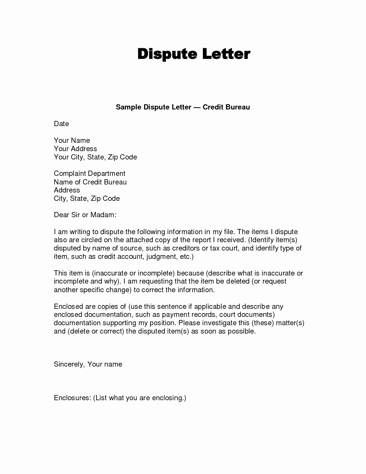 Sample Letter Of Explanation for Late Payments On Credit Report Unique Dispute Letter to Credit Bureau Template – Printable