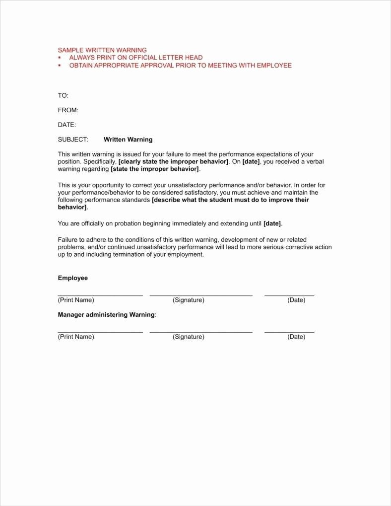 Sample Letter Of Incompetence From Doctor Elegant 9 First and Second Warning Letter Templates Free Pdf