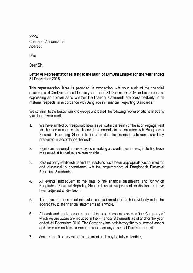 Sample Letter Of Representation Best Of Management Representation Letter Sample Public Limited