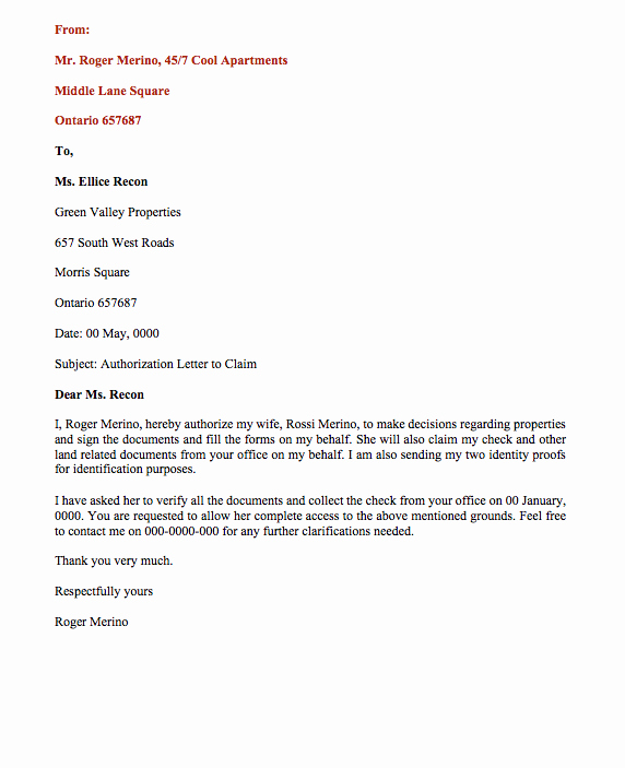Sample Letter Of Representation Lovely Sample Letter Authorization to Act Behalf