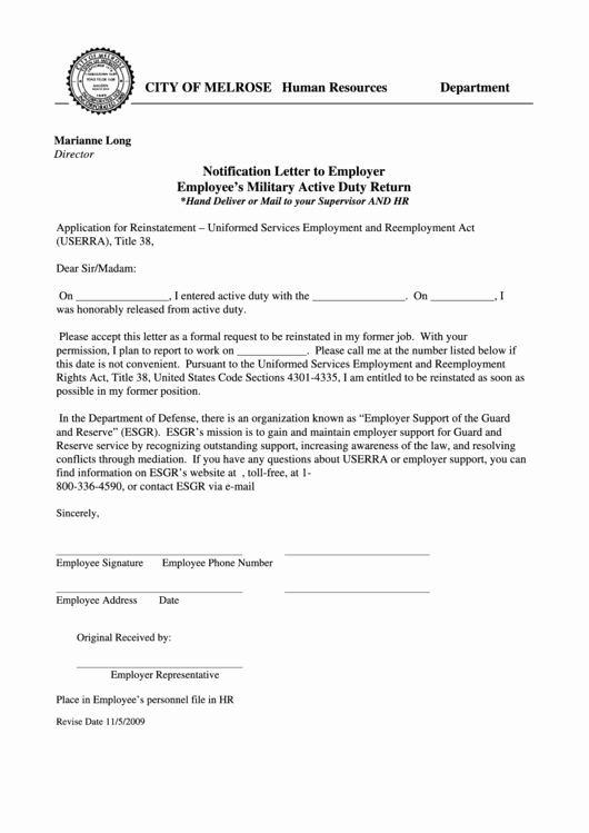 Sample Letter to Get Out Of Jury Duty From Employer New Fillable Notification Letter to Employer Employee S