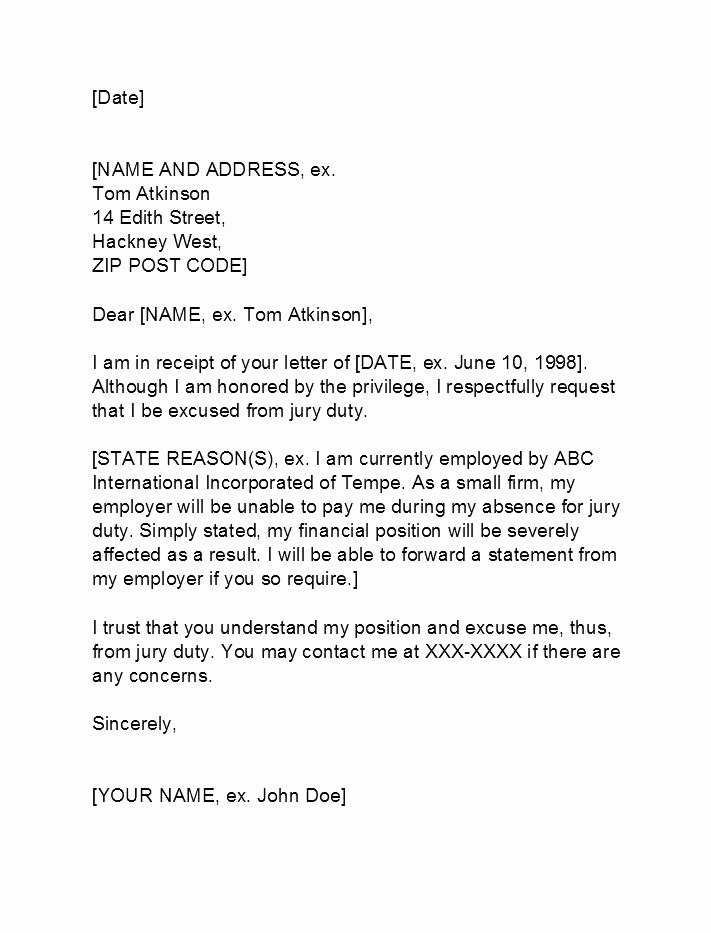 Sample Letter to Get Out Of Jury Duty From Employer Unique Exemption Letter Template – Copyofthebeautyfo