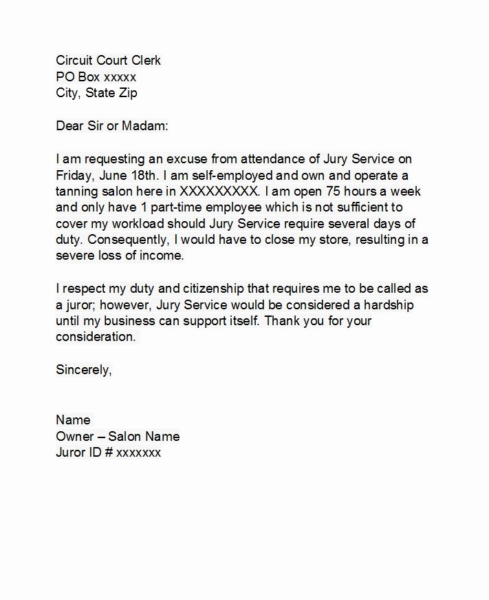 Sample Letters to Be Excused From Jury Duty Beautiful 33 Best Jury Duty Excuse Letters [ Tips] Template Lab