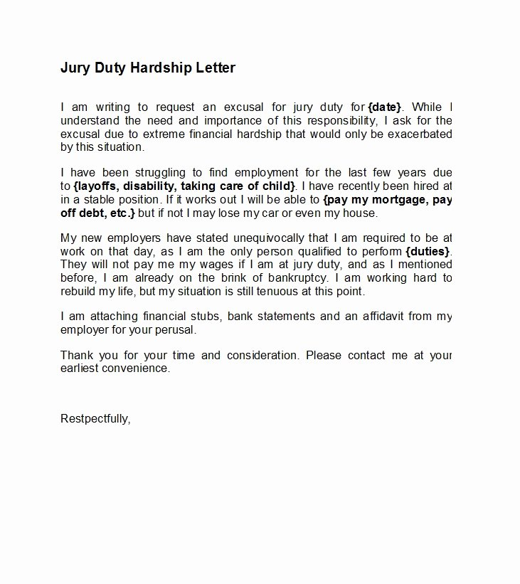 Sample Letters to Be Excused From Jury Duty Elegant 33 Best Jury Duty Excuse Letters [ Tips] Template Lab