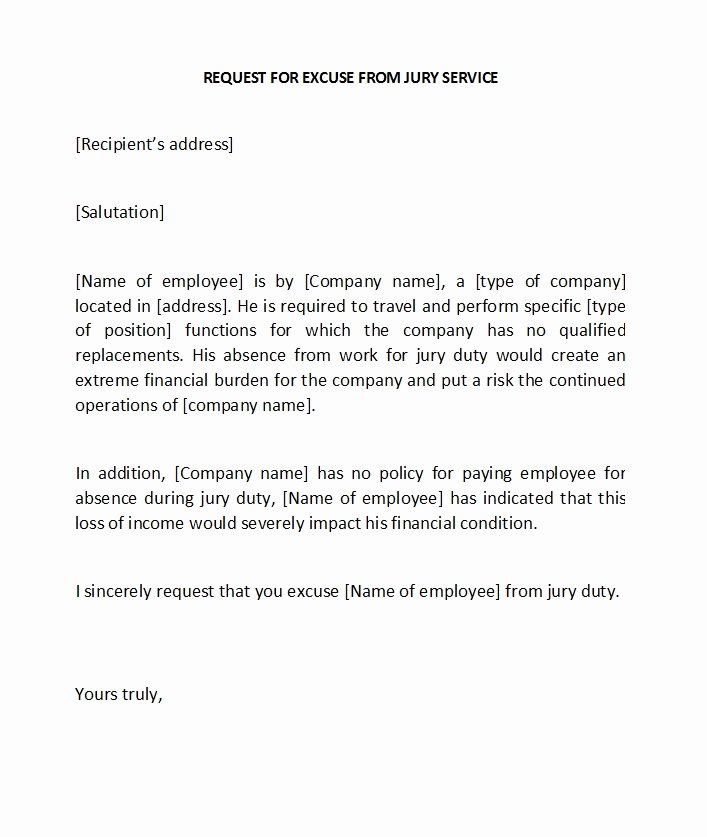 Sample Letters to Be Excused From Jury Duty Unique 33 Best Jury Duty Excuse Letters [ Tips] Template Lab