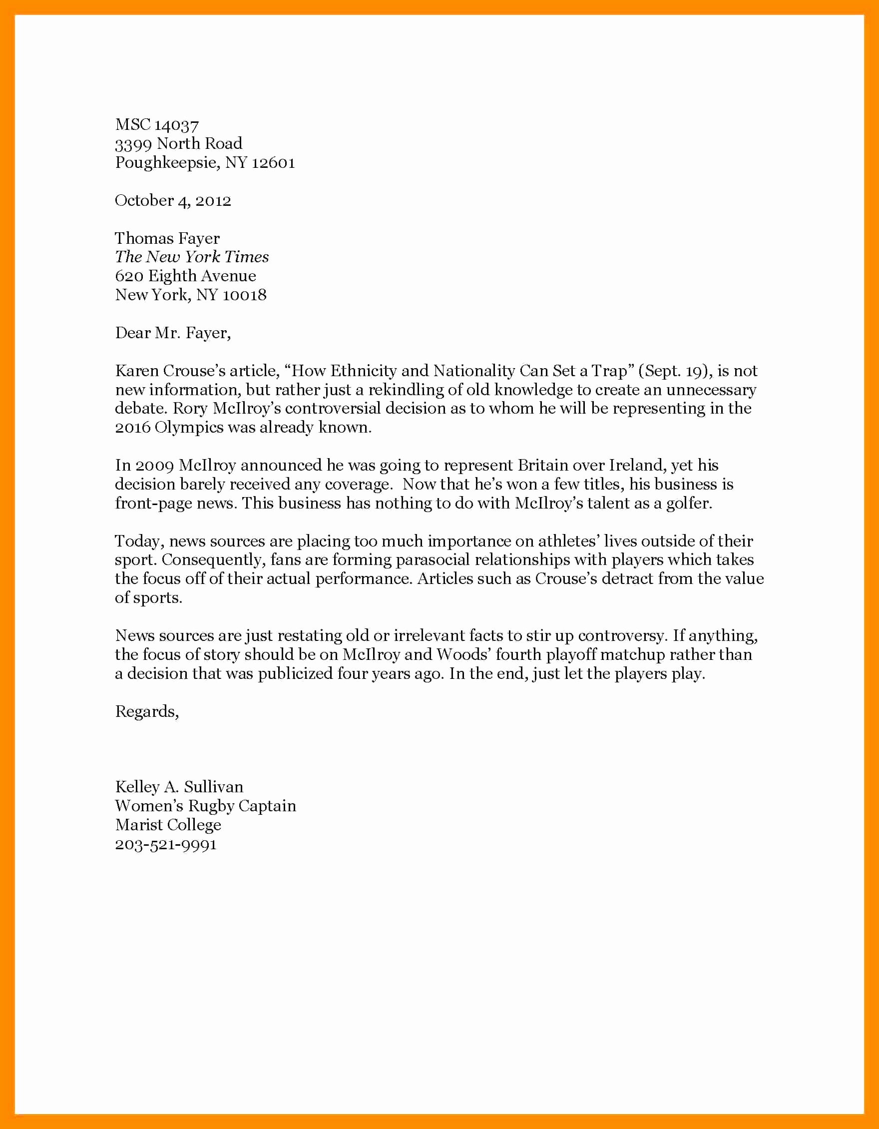 Sample Letters to the Editor for Students Elegant Letter to the Editor Example for Students – Bushveld Lab