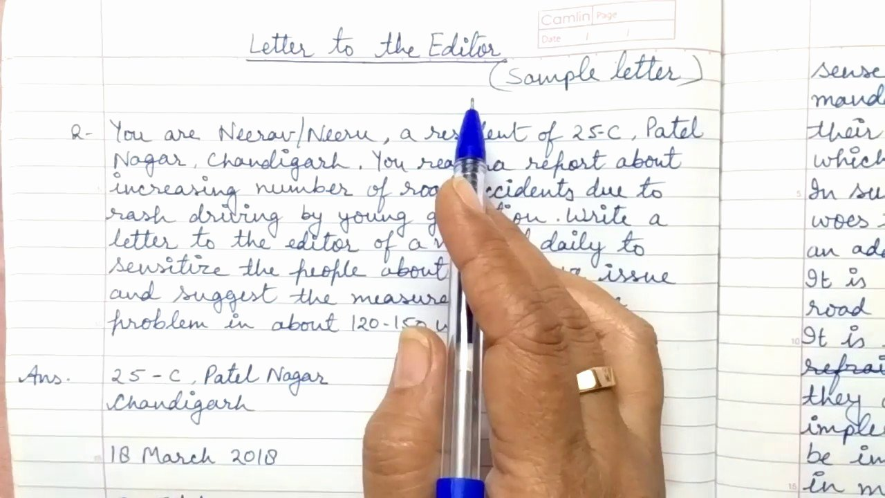 Sample Letters to the Editor for Students Inspirational Letter to the Editor Class 10 11 & 12 Cbse Part 2