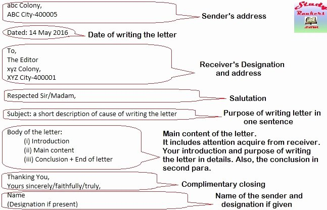 Sample Letters to the Editor for Students Unique format for Writing formal Letters with Example Study Rankers