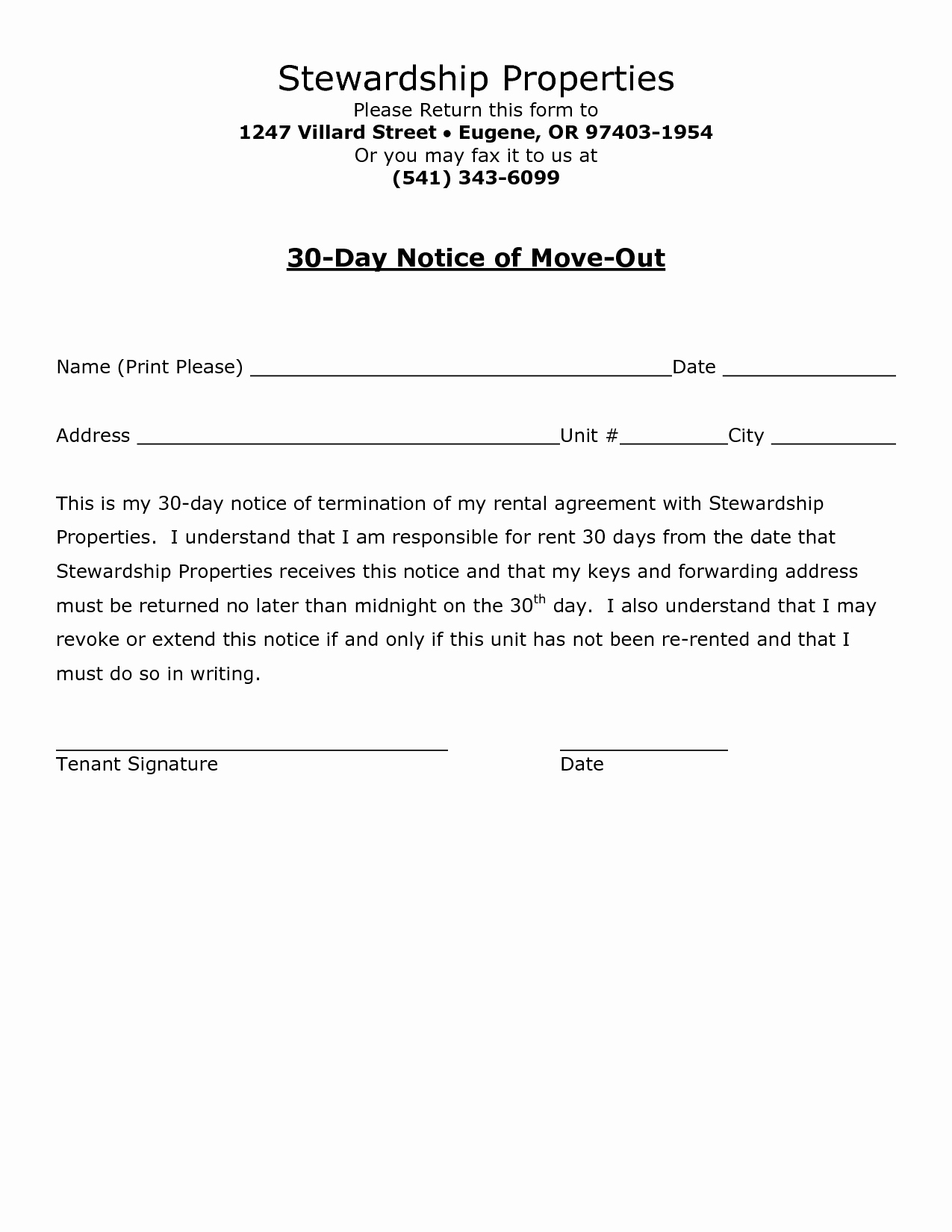 Sample Of 30 Day Notice to Move Out Fresh Best S Of Move Out Notice to Tenant Template 30 Day