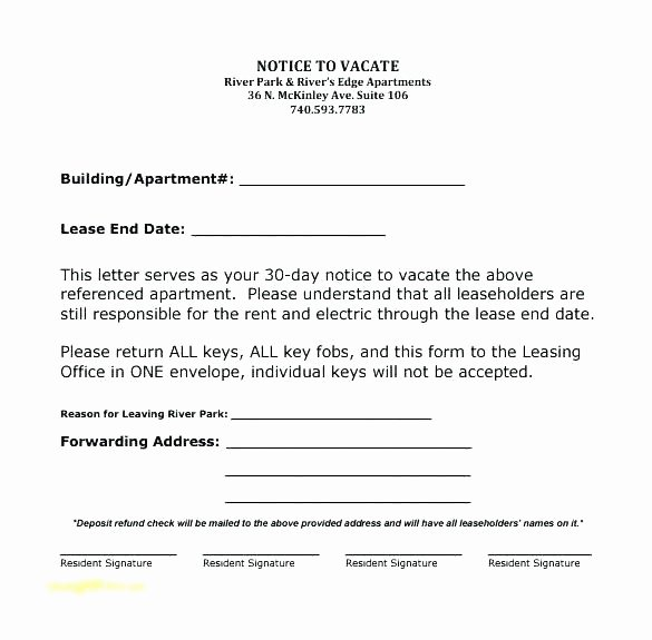 Sample Of 30 Day Notice to Move Out New Apartment 30 Day Notice Letter Nice Apartement